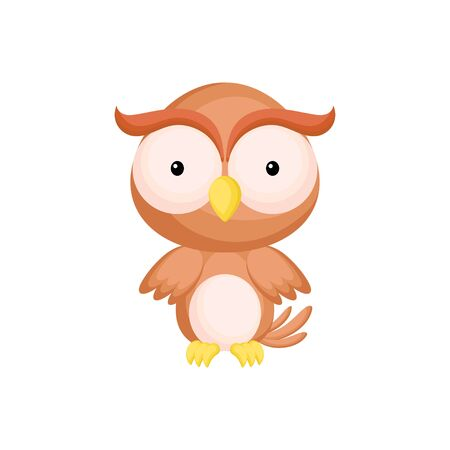 Cute funny baby owl isolated on white background. Woodland adorable animal character for design of album, scrapbook, card and invitation. Fun zoo. Flat cartoon colorful vector illustration.