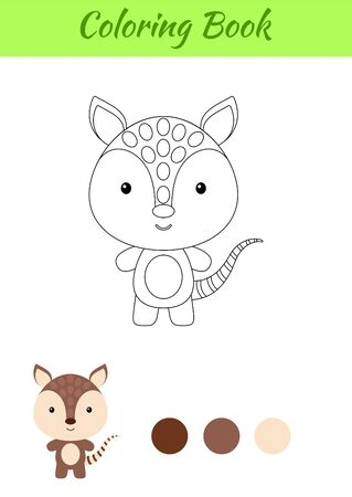 Coloring page happy little baby armadillo. Printable coloring book for kids. Educational activity for kindergarten and preschool with cute animal. Flat cartoon colorful illustration.