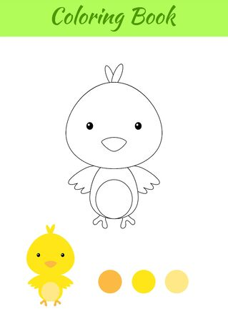 Coloring page happy little baby chicken. Printable coloring book for kids. Educational activity for kindergarten and preschool with cute animal. Flat cartoon colorful illustration.