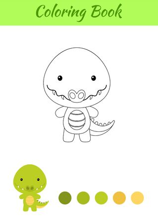 Coloring page happy little baby crocdile. Printable coloring book for kids. Educational activity for kindergarten and preschool with cute animal. Flat cartoon colorful illustration.