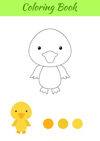 Coloring page happy little baby duck. Printable coloring book for kids. Educational activity for kindergarten and preschool with cute animal. Flat cartoon colorful illustration.