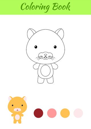 Coloring page happy little baby hamster. Printable coloring book for kids. Educational activity for kindergarten and preschool with cute animal. Flat cartoon colorful illustration.