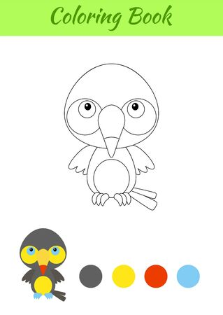 Coloring page happy little baby toucan. Printable coloring book for kids. Educational activity for kindergarten and preschool with cute animal. Flat cartoon colorful illustration.