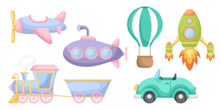 Collection of cute cartoon transport for boys isolated on white background. Set of transportation theme for design of kid's rooms clothing textiles album card invitation. Flat vector illustration. Stock Illustratie