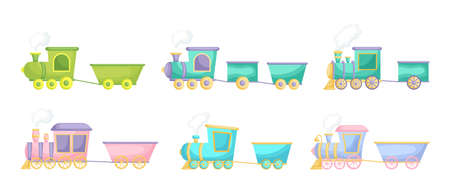 Collection of cute cartoon baby's trains isolated on white background. Set of different models of trains for design of kid's rooms clothing textiles album card invitation. Flat vector illustration.