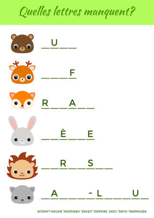 Quelles lettres manquent? - What letters are missing? Complete the words. Matching educational game for children with cute animals. Educational activity page for study French. Vector illustration.