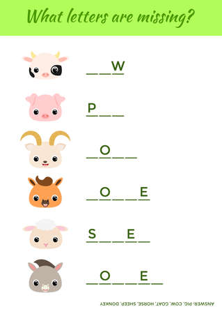 Matching educational game for children with cute animals. Write missing letters. Educational activity page for study English. Game learning words for kids. Isolated vector illustration. Illustration