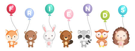 Group of cute animals. Cartoon animals stand and hold balloons in their hands. World animals day. Happy friendship day. Set of characters isolated on white background. Vector stock illustration.
