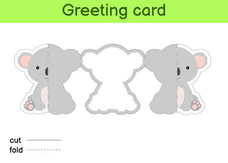 Cute koala fold-a-long greeting card template. Great for birthdays, baby showers, themed parties. Printable color scheme. Print, cut out, fold, glue. Colorful vector stock illustration.