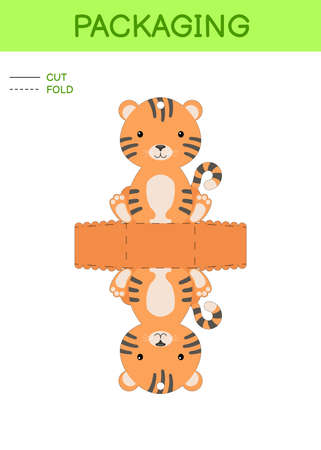 DIY party favor box die cut template design for birthdays, baby showers with cute tiger for sweets, candies, small presents. Printable color scheme. Print, cut out, fold, glue. Vector illustration