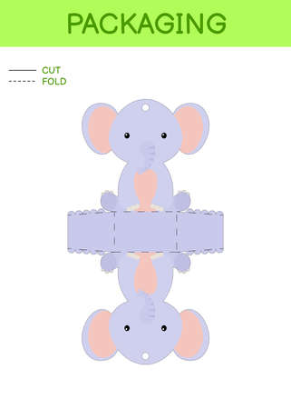 DIY party favor box die cut template design for birthdays, baby showers with cute elephant for sweets, candies, small presents. Printable color scheme. Print, cut out, fold, glue. Vector illustration