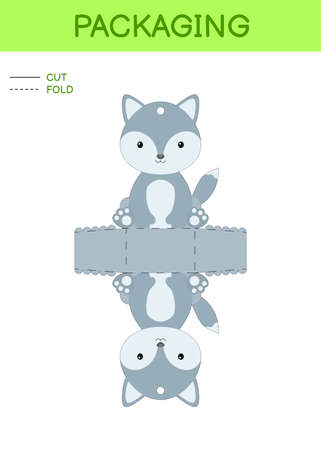 DIY party favor box die cut template design for birthdays, baby showers with cute wolf for sweets, candies, small presents. Printable color scheme. Print, cut out, fold, glue. Vector illustration