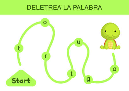 Deletrea la palabra - Spell the word. Maze for kids. Spelling word game template. Learn to read word turtle. Activity page for study Spanish for development of children. Vector stock illustration. Ilustração