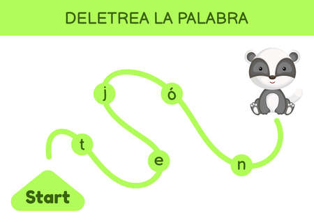 Deletrea la palabra - Spell the word. Maze for kids. Spelling word game template. Learn to read word badger. Activity page for study Spanish for development of children. Vector stock illustration. Ilustração
