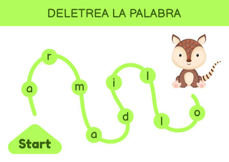 Deletrea la palabra - Spell the word. Maze for kids. Spelling word game template. Learn to read word armadillo. Activity page for study Spanish for development of children. Vector stock illustration.