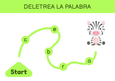 Deletrea la palabra - Spell the word. Maze for kids. Spelling word game template. Learn to read word zebra. Activity page for study Spanish for development of children. Vector stock illustration.