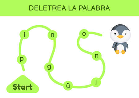 Deletrea la palabra - Spell the word. Maze for kids. Spelling word game template. Learn to read word penguin. Activity page for study Spanish for development of children. Vector stock illustration.