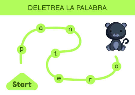Deletrea la palabra - Spell the word. Maze for kids. Spelling word game template. Learn to read word panther. Activity page for study Spanish for development of children. Vector stock illustration.