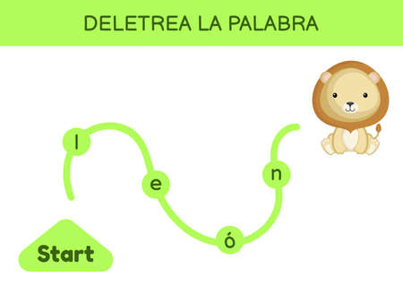 Deletrea la palabra - Spell the word. Maze for kids. Spelling word game template. Learn to read word lion. Activity page for study Spanish for development of children. Vector stock illustration. 矢量图像