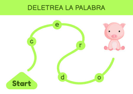 Deletrea la palabra - Spell the word. Maze for kids. Spelling word game template. Learn to read word pig. Activity page for study Spanish for development of children. Vector stock illustration.