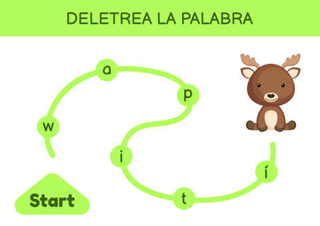 Deletrea la palabra - Spell the word. Maze for kids. Spelling word game template. Learn to read word moose. Activity page for study Spanish for development of children. Vector stock illustration.