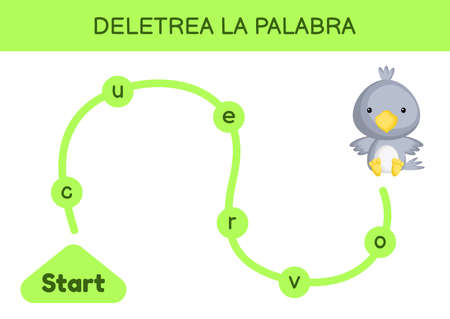 Deletrea la palabra - Spell the word. Maze for kids. Spelling word game template. Learn to read word raven. Activity page for study Spanish for development of children. Vector stock illustration.