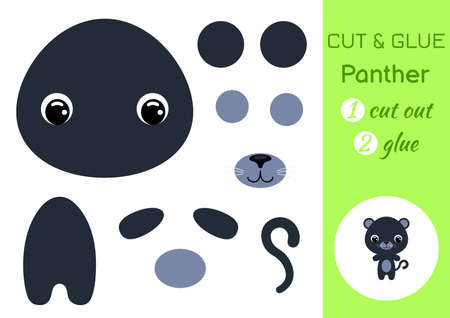 Cut and glue baby panther. Education developing worksheet. Color paper game for preschool children. Cut parts of image and glue on paper. Cartoon character. Colorful vector stock illustration.