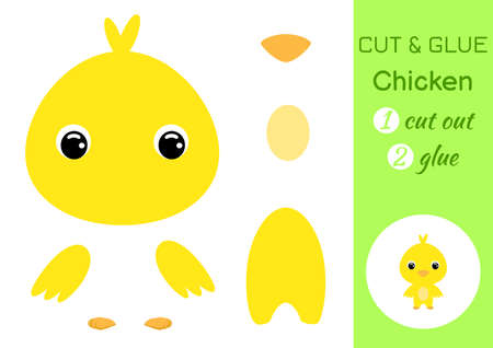 Cut and glue baby chicken. Education developing worksheet. Color paper game for preschool children. Cut parts of image and glue on paper. Cartoon character. Colorful vector stock illustration.