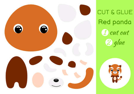 Cut and glue baby red panda. Education developing worksheet. Color paper game for preschool children. Cut parts of image and glue on paper. Cartoon character. Colorful vector stock illustration.