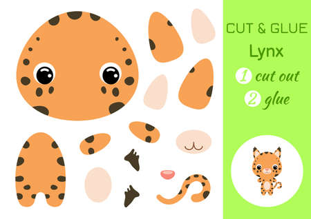 Cut and glue baby lynx. Education developing worksheet. Color paper game for preschool children. Cut parts of image and glue on paper. Cartoon character. Colorful vector stock illustration.