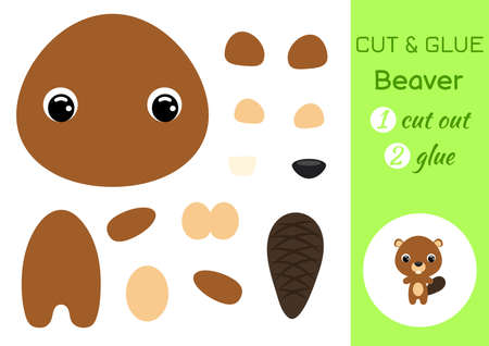 Cut and glue baby beaver. Education developing worksheet. Color paper game for preschool children. Cut parts of image and glue on paper. Cartoon character. Colorful vector stock illustration.