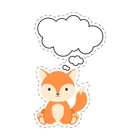 Cute cartoon fox with speech bubble sticker. Kawaii character on white background. Cartoon sitting animal postcard clipart for birthday, baby shower, party event. Vector stock illustration.