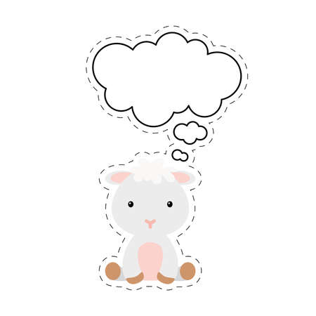 Cute cartoon sheep with speech bubble sticker. Kawaii character on white background. Cartoon sitting animal postcard clipart for birthday, baby shower, party event. Vector stock illustration.