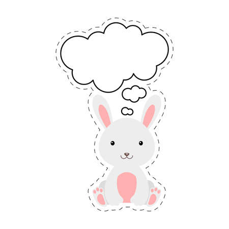 Cute cartoon hare with speech bubble sticker. Kawaii character on white background. Cartoon sitting animal postcard clipart for birthday, baby shower, party event.