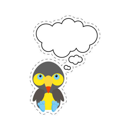 Cute cartoon toucan with speech bubble sticker. Kawaii character on white background. Cartoon sitting animal postcard clipart for birthday, baby shower, party event. Vector stock illustration. Vektorové ilustrace