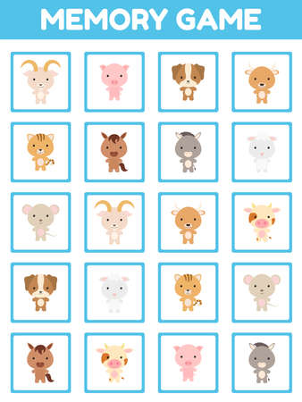 Memory game with cute set cartoon animals. Cards game find two two identical pictures. Kids activity page for book. Education developing worksheet. Logical thinking training. Vector stock illustration