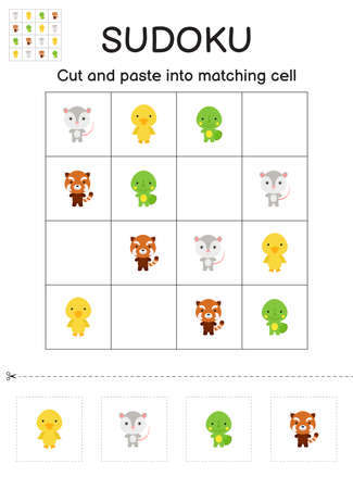 Sudoku game for children with pictures. Kids activity sheet. Matching game for children with cute cartoon animals. Education developing worksheet. Logical thinking training. Vector stock illustration.