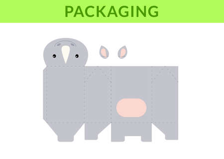 DIY party favor box for birthdays, baby showers with cute rhino for sweets, candies, small presents, bakery. Retail box blueprint template. Print, cutout, fold, glue. Vector stock illustration