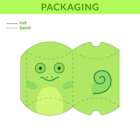 Adorable DIY party favor box for birthdays, baby showers with chameleon for sweets, candies, small presents, bakery. Retail box blueprint template. Print, cutout, fold, glue