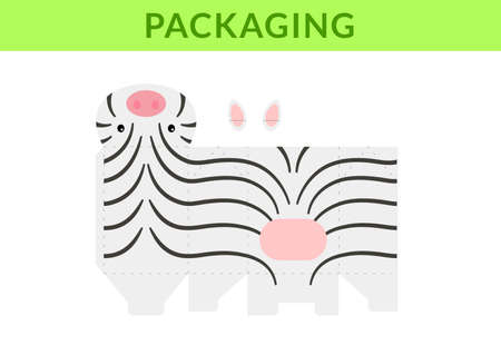 DIY party favor box for birthdays, baby showers with cute zebra for sweets, candies, small presents, bakery. Retail box blueprint template. Print, cutout, fold, glue. Vector stock illustration Illusztráció