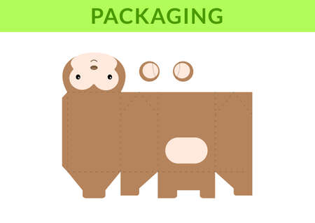 Adorable DIY party favor box for birthdays, baby showers with monkey for sweets, candies, small presents, bakery. Retail box blueprint template. Print, cutout, fold, glue. Vector stock illustration