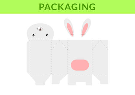 Adorable DIY party favor box for birthdays, baby showers with cute hare for sweets, candies, small presents, bakery. Retail box blueprint template. Print, cutout, fold, glue. Vector stock illustration Illusztráció