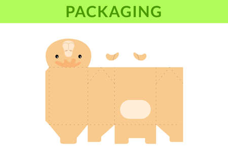 Adorable DIY party favor box for birthdays, baby showers with cute camel for sweets, candies, small presents, bakery. Retail box blueprint template. Print, cutout, fold, glue Vector stock illustration