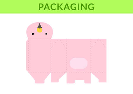Adorable DIY party favor box for birthdays, baby showers with flamingo for sweets, candies, small presents, bakery. Retail box blueprint template. Print, cutout, fold, glue. Vector stock illustration