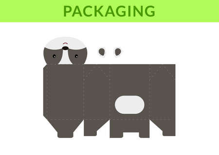 DIY party favor box for birthdays, baby showers with cute badger for sweets, candies, small presents, bakery. Retail box blueprint template. Print, cutout, fold, glue. Vector stock illustration