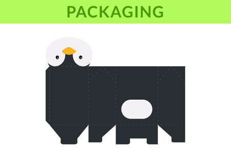 DIY party favor box for birthdays, baby showers with cute penguin for sweets, candies, small presents, bakery. Retail box blueprint template. Print, cutout, fold, glue. Vector stock illustration