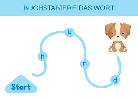 Buchstabiere das wort - Spell the word. Maze for kids. Spelling word game template. Learn to read word dog. Activity page for study German for development of children. Vector stock illustration.