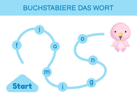 Buchstabiere das wort - Spell the word. Maze for kids. Spelling word game template. Learn to read word flamingo. Activity page for study German for development of children. Vector stock illustration. Illusztráció