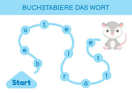 Buchstabiere das wort - Spell the word. Maze for kids. Spelling word game template. Learn to read word opossum. Activity page for study German for development of children. Vector stock illustration.