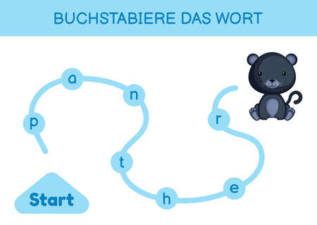 Buchstabiere das wort - Spell the word. Maze for kids. Spelling word game template. Learn to read word panther. Activity page for study German for development of children. Vector stock illustration.